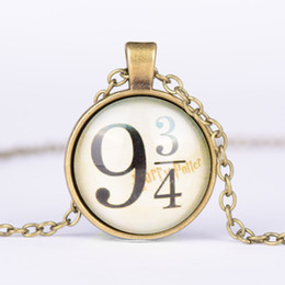 Wholesale Time Gems Harry Potter Vintage Movie Glass Cabochon Gold Silver Bronze Chain Pendant Necklace Nice Jewelry Accessary Gift for Women Girl