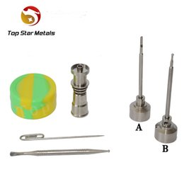Fit 16mm heating coil 14&18mm Female Titanium nail with Titanium carb cap with 1 random Silicone Jar Container with 2 Real Ti dabbers