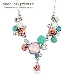 Wholesale MADE WITH SWAROVSKI ELEMENTS Authentic Crystal Chain Choker Love Necklaces Pendants New Fashion Jewelry Gift JS1