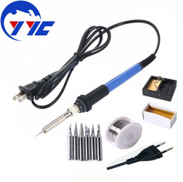 Wholesale 220V V W Adjustable Temperature Electric Soldering Iron Rework Repair Tool Kit Solder Iron Tip Solder Wire