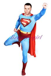 Trajes de cuerpo de spandex al por mayor en Línea-Adulto mayor-Superman traje de superhéroe Lycra Spandex Zentai 2nd Skin cuerpo completo juego de la piel estanco de prendas de vestir Body Catsuit