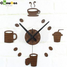 Wholesale 2016 New Vintage Wood Color Creative Tableware Coffee Cup Mugs Diy Wall Clock Home Decor Antique Style Clocks