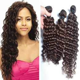 3 Pieces Lot Chocolate Brown Brazilian Hair Extensions 100% Certified Human Hair Weft Bundles Color #4 Medium Brown Deep Wave Hair Weaving