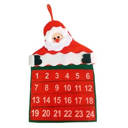 Wholesale Christmas Gift Santa Claus Father Advent Calendar Countdown Xmas Decor Fabric Pockets Christmas Decoration Supplies