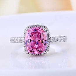 Vecalon 2016 Brand Fashion pink sapphire Cz diamond ring 925 Sterling Silver Engagement Wedding Band Ring for Women gift