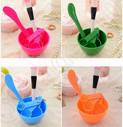 Wholesale 4 color LJJK372 DIY Facial in Stick Beauty Brush Set Tool Face Mask Bowl Brush Spatulas Spoon Cosmetic Mask Plastic MakeUp