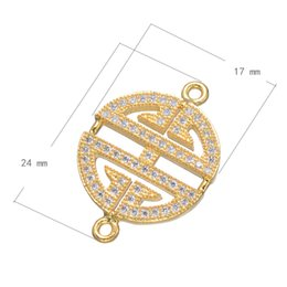DIY Belt Signs Jewelry Accessories Copper Fixed Pendant Flat Plated Micro Pave Cubic Zirconia 24x17mm Hole:About 1.4mm 10 PCs Lot