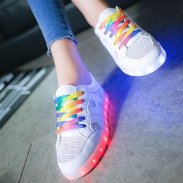 Wholesale LED Summer Net Section Colorful Luminescence USB Charge Ventilation Noctilucent Fluorescence Shoe Lovers Fund Men And Women Skate