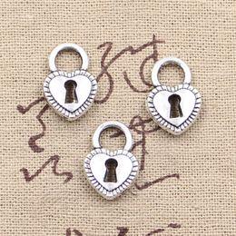 Wholesale 100pcs Charms padlock heart key mm Antique Making pendant fit Vintage Tibetan Silver DIY bracelet necklace