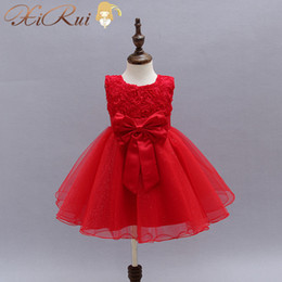 Special Offer White Red Big Bow Dresses For Girls Brand Tulle Lace Infant Toddler Pageant Flower Girl Dresses For Weddings And Party