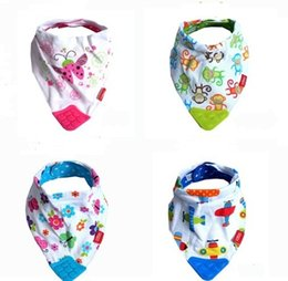 Wholesale Baby bibs bandana bibs with Silicone Teether Print cotton baby bib New Dribble towel bibs Infants Burp Cloths Feeding Scarf Fashion