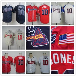 Wholesale Chipper Jones Jersey Atlanta Braves Stitched Cool Base Red White Cream Dark Blue