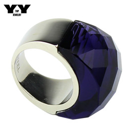 Newest size 6 to 9 Exaggerated Big crystal Rings in clear purple color hand made polishing luxury 316L Stainless steel ring for women