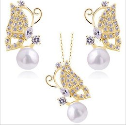 HOT women Jewelry Sets Earring Necklace Crystal Rhinestone Pearl butterfly Earrings & Necklace Wedding Party Gold White K FREE SHIPPING