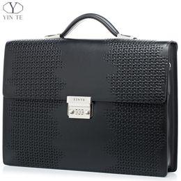Wholesale YINTE Men s Briefcase Leather High End Business Briefcase Messenger Laptop Case Attache Bag Cow Leather Portfolio Tote