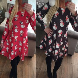 Wholesale Christmas Blouses - Christmas Dress for Womens Blouses Tops Skirts for Women Tops for Women Print Snowman Chiffon Mini Dresses Women Shorts Clothing Wholesale