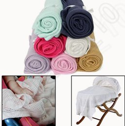 Wholesale 15 color KKA132 BABY cellular BLANKET swaddle Shawl mittens booties bibs wash cloths Newborn Crochet Knit Soft Hollow out Blankets