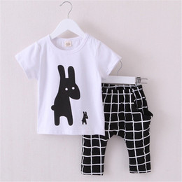 Hot Summer Boys Clothes 2016 New Baby Boy Clothing Set Pattern Rabbit Toddler Boys Clothing Plaid Kids Clothes Children Clothing Set