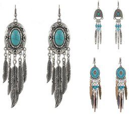 Wholesale 3 designs new summer style tibetan silver antique turquoise bead feather tassel statement earrings bohemian pendientes