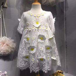 Wholesale 2016 Best Sale Girls White Lace Dresses Chidlren Sweet Short Sleeves Dress Kids Elegant Princess Dress with D Flower Party Dresses