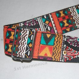 Wholesale New twill Africa style colorful Acoustic Guitar Strap bass banjo adjustable Genuine leather end pro