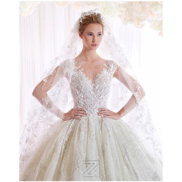 Vestido De Noiva White Ivory V Neck Wedding Dresses 2016 Ball Gown Designer New 2016 Spring Lace And Tulle Embroidery Wedding Bridal Gown