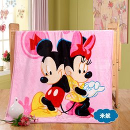 Wholesale Super soft thick flannel blanket cartoon lovely Mickey Mouse animation multifunctional children young girls blanket cm