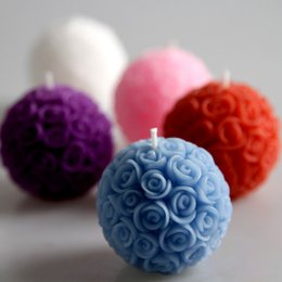 Wholesale 4pcs Wedding decorative candles romantic rose ball flower candle for birthday party wedding favors and gifts wedding supplies