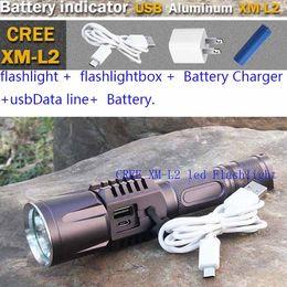 Aluminum USB LED flashlight CREE XM-L2 T6 LED Flashlight Torch Brightness LED USB charge 18650 battery Intelligent flashlight