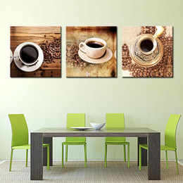 Wholesale 3 Picture Combination Canvas Print Wall Art Painting For Home Decor Of A Cup Of Black Coffee And Coffee Beans On Table