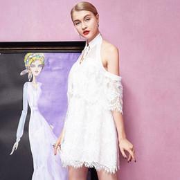 Small fresh new summer dress white goddess Halter Halter short sleeved lace A-line dress skirt a