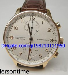 Wholesale Luxury K Rose Gold Portuguese Chrono b p Men Automatic Watch Leather Men s Sport Wrist Watch