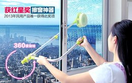 Wholesale Glass window cleaning tool retractable pole clean window device with melamine sponge head double faced glass scraper wipe
