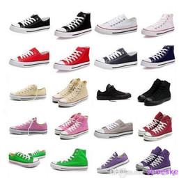 Descuento altos tops hombres 45 Envío de la gota de alta calidad Renben Classic Bajo-Top del alto-top de lona zapatilla de deporte de los calzados informales de los hombres / de los zapatos de lona de las mujeres al por menor tamaño EU35-45