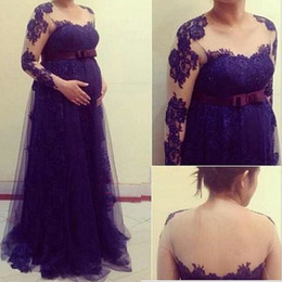 Vintage Empire Prom Gowns Illusion Lace Appliques Long Sleeves Maternity Evening Party Dresses with Bow Sash Custom Made Top Quality