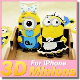 Wholesale Cute Baby Minions Soft Silicone Rubber Case Despicable Me Maid Style D Back Cover Shell For Iphone s s plus