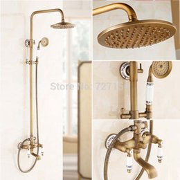 Wholesale New Antique Brass Bathroom Shower Faucet W White And Blue Porcelain Hand Shower
