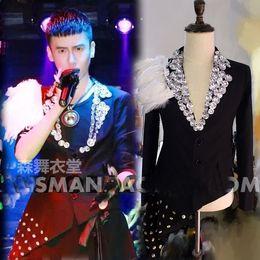 mens stage performance rhinestone beading Hi-lo feather decoration tuxedo jacket stage wear singing bar wedding ,only jacket