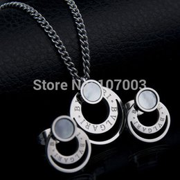 Wholesale Never Fade Fashion Band Jewelry 316l Stainless Steel Shell Jewelry Set Women Necklace Earrings Set wedding jewelry set