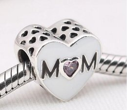 Authentic 925 Sterling Silver beads with cz Mother Heart Fits for Pandora Bracelets DIY Jewelry wholesale 2016 mother's day charms best gift