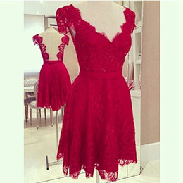 Capped V Neck Lace Bridesmaid Dress Short 2016 Red Women Dress For Wedding Party Sheer Back
