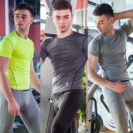 Wholesale New Men Athletic Apprarel Compression Tops Tight T Shirt High Quality Underwear Short Sleeve Quick Dry Gym Clothing Three Color