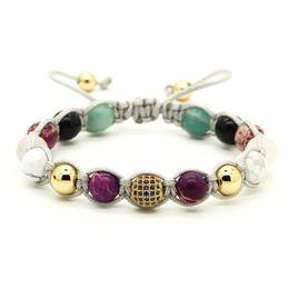 Wholesale 10pcs lot Natural Stone Beads with 9mm Blue Micro Paved Blue Cz Beads Braiding Macrame Bracelet Women Girl Gift