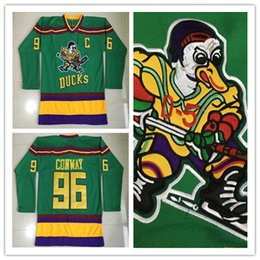 Wholesale Charlie Conway Mighty Ducks Movie Jersey Worn Away Green Stitched Sewn Anaheim Ducks Vintage Charlie Conway Hockey Jersey S XL