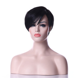Wholesale 2016 Newest Heat Resistant Black B color Short Straight Weman Synthetic Ladys Hair Wig Daily Natrura Wigsl