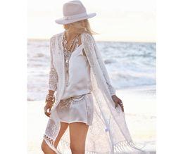 Wholesale 2016041507 Fashion Summer Ladies Fringed Kimono Cardigan Women White Lace Blouse Beach Kimonos Vacation Sunscreen
