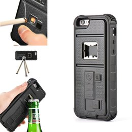 Wholesale 2016 brand new Multi functional Apple Cigarette USB Lighter Beer Bottle Opener Case Cover Shock Absorb iPhone S S Cell Phone Cases