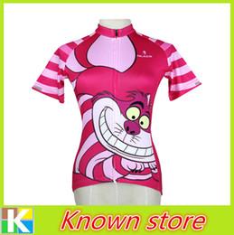 Wholesale 2015 new women funny cat cartoon cycling clothing happy biking jersey cute cat cycling shirt female big mouth red cat bike wear