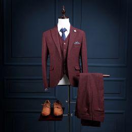 Wholesale News latest Design Custom Made Burgundy Slim Fit Men Coat Pant Male Suit Pieces Set Coat Pants Vest NA18 Wine Red Mens Tuxedos