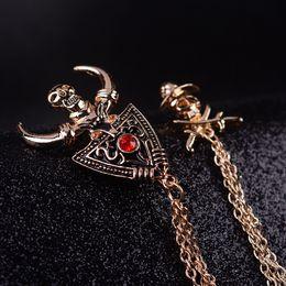Europe punk skull brooch chain tassels chain brooch pin collar suit men and women horns corsage pin brooch Hmong beliefs